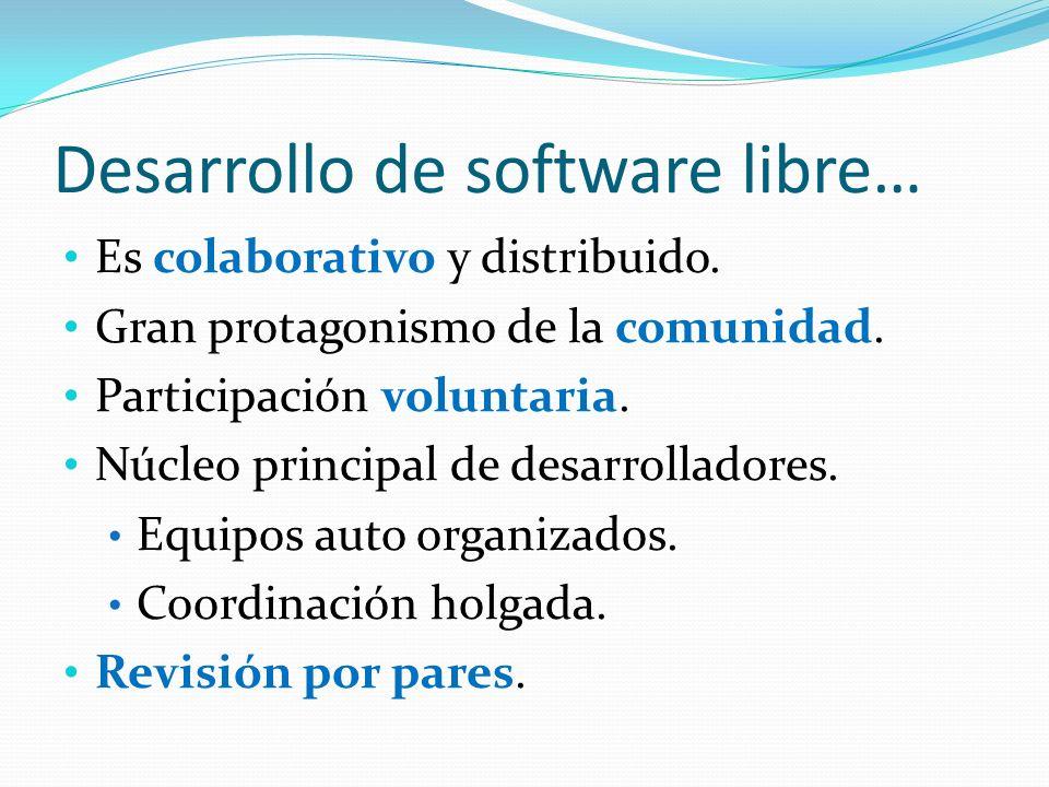 Desarrollo de software libre… Es colaborativo y distribuido. Gran protagonismo de la comunidad. Participación voluntaria. Núcleo principal de desarrol