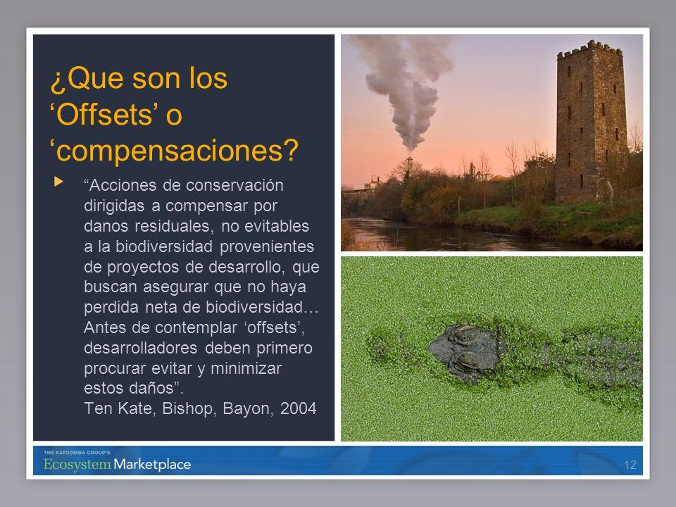 12 ¿Que son los Offsets o compensaciones? Acciones de conservación dirigidas a compensar por danos residuales, no evitables a la biodiversidad proveni
