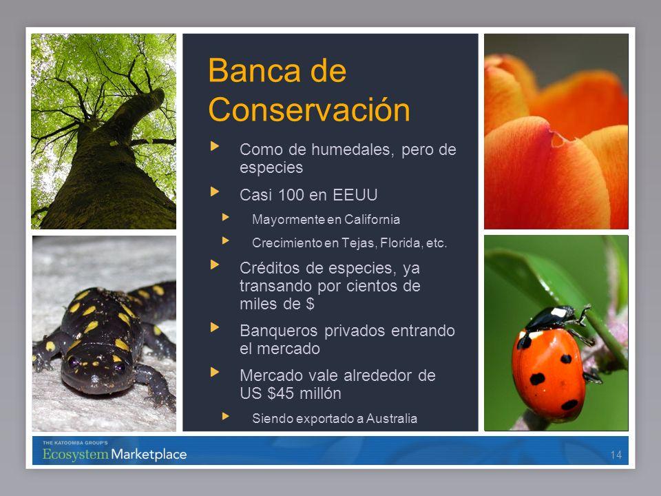 14 Banca de Conservación Como de humedales, pero de especies Casi 100 en EEUU Mayormente en California Crecimiento en Tejas, Florida, etc. Créditos de