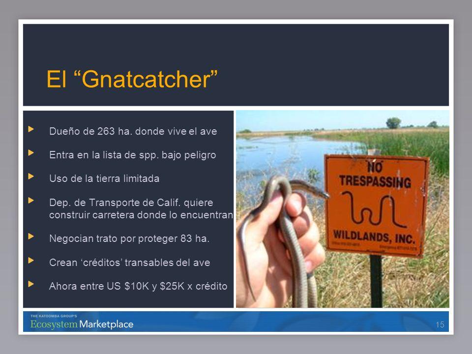 15 El Gnatcatcher Dueño de 263 ha. donde vive el ave Entra en la lista de spp. bajo peligro Uso de la tierra limitada Dep. de Transporte de Calif. qui
