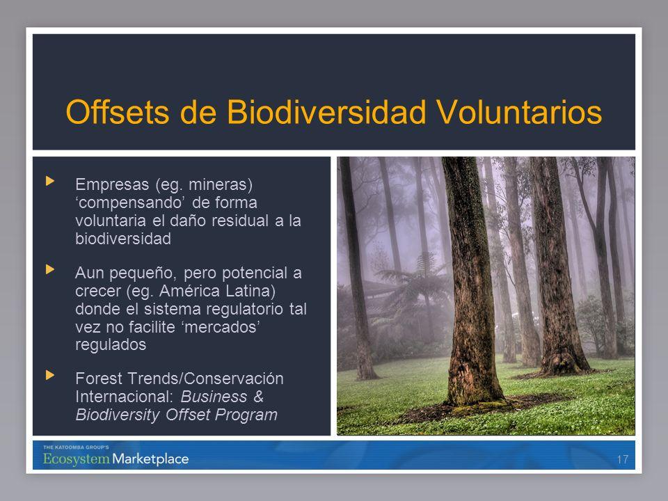 17 Offsets de Biodiversidad Voluntarios Empresas (eg. mineras) compensando de forma voluntaria el daño residual a la biodiversidad Aun pequeño, pero p