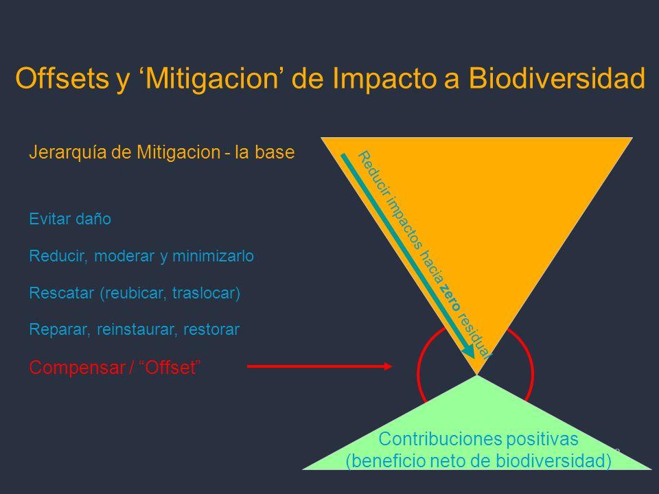 18 Offsets y Mitigacion de Impacto a Biodiversidad 18 Contribuciones positivas (beneficio neto de biodiversidad) Reducir impactos hacia zero residual