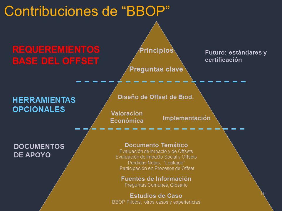 19 Principios Preguntas clave REQUEREMIENTOS BASE DEL OFFSET HERRAMIENTAS OPCIONALES DOCUMENTOS DE APOYO Diseño de Offset de Biod. Valoración Económic