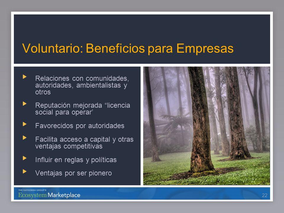 22 Voluntario: Beneficios para Empresas Relaciones con comunidades, autoridades, ambientalistas y otros Reputación mejorada licencia social para opera