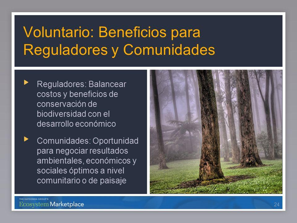 24 Voluntario: Beneficios para Reguladores y Comunidades Reguladores: Balancear costos y beneficios de conservación de biodiversidad con el desarrollo