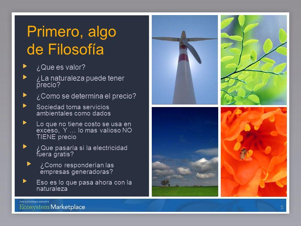 66 Suficiente Filosofía, hablemos de realidad Hay mercados en operación, y gran variedad de transacciones con características de mercado Carbono Agua Biodiversidad 6