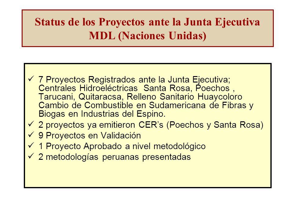 Status de los Proyectos ante la Junta Ejecutiva MDL (Naciones Unidas) 7 Proyectos Registrados ante la Junta Ejecutiva; Centrales Hidroeléctricas Santa Rosa, Poechos, Tarucani, Quitaracsa, Relleno Sanitario Huaycoloro Cambio de Combustible en Sudamericana de Fibras y Biogas en Industrias del Espino.