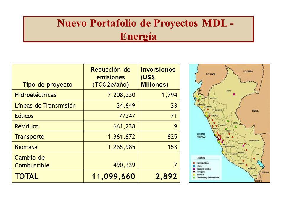 Nuevo Portafolio de Proyectos MDL - Energía Tipo de proyecto Reducción de emisiones (TCO2e/año) Inversiones (US$ Millones) Hidroeléctricas7,208,3301,794 Líneas de Transmisión34,64933 Eólicos7724771 Residuos661,2389 Transporte1,361,872825 Biomasa1,265,985153 Cambio de Combustible490,3397 TOTAL11,099,6602,892