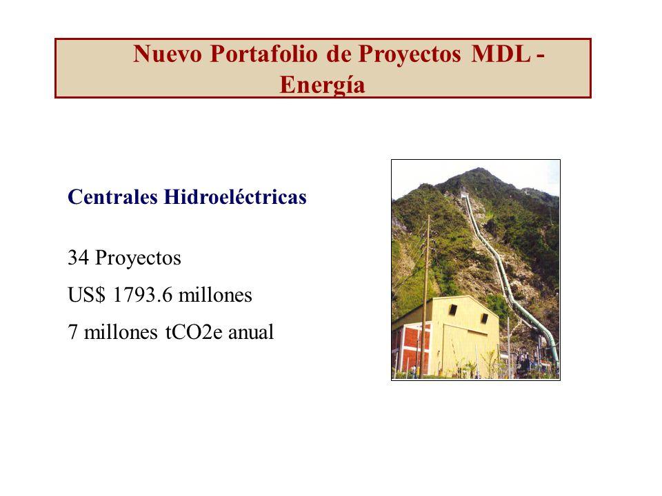 Centrales Hidroeléctricas 34 Proyectos US$ 1793.6 millones 7 millones tCO2e anual Nuevo Portafolio de Proyectos MDL - Energía