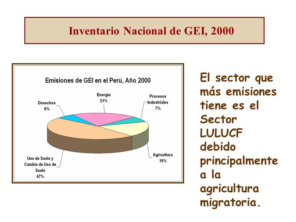 El sector que más emisiones tiene es el Sector LULUCF debido principalmente a la agricultura migratoria.