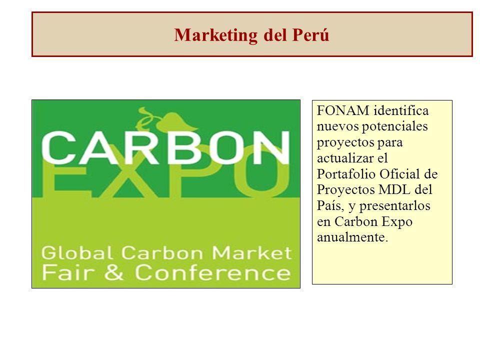Marketing del Perú FONAM identifica nuevos potenciales proyectos para actualizar el Portafolio Oficial de Proyectos MDL del País, y presentarlos en Carbon Expo anualmente.