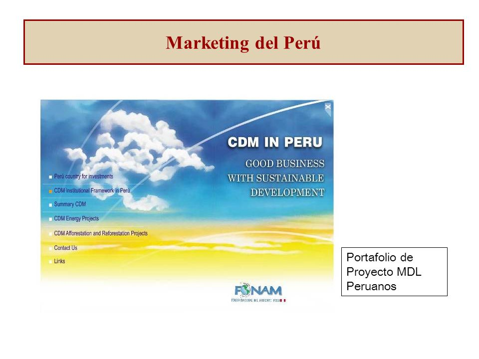 Portafolio de Proyecto MDL Peruanos Marketing del Perú