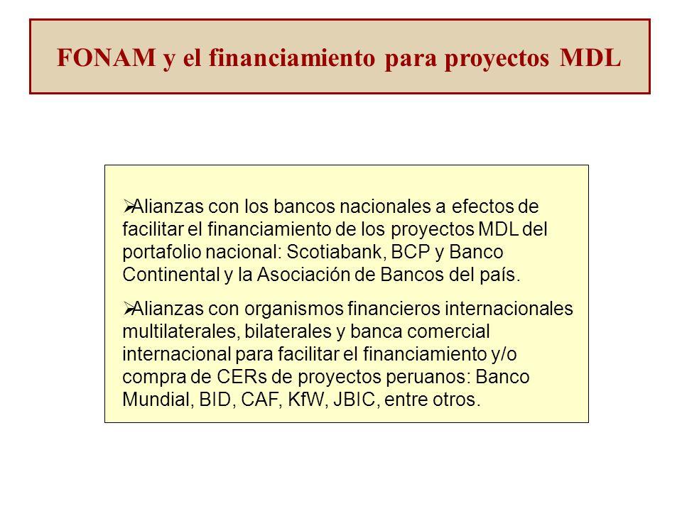 FONAM y el financiamiento para proyectos MDL Alianzas con los bancos nacionales a efectos de facilitar el financiamiento de los proyectos MDL del portafolio nacional: Scotiabank, BCP y Banco Continental y la Asociación de Bancos del país.
