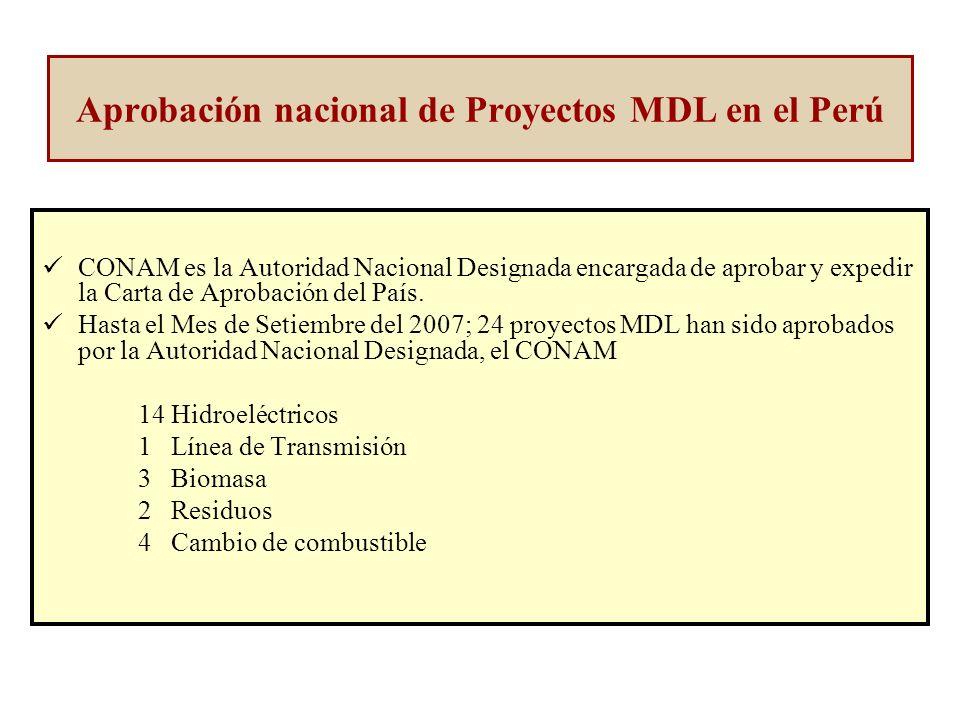 Aprobación nacional de Proyectos MDL en el Perú CONAM es la Autoridad Nacional Designada encargada de aprobar y expedir la Carta de Aprobación del País.