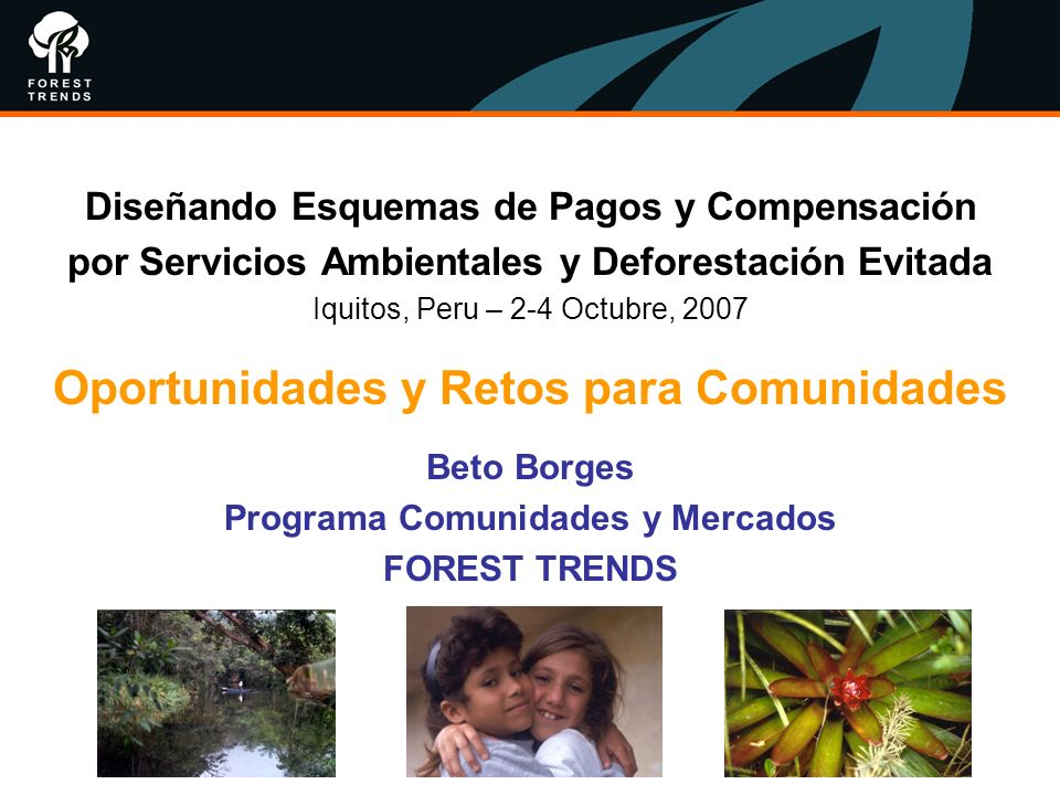 Diseñando Esquemas de Pagos y Compensación por Servicios Ambientales y Deforestación Evitada Iquitos, Peru – 2-4 Octubre, 2007 Oportunidades y Retos p
