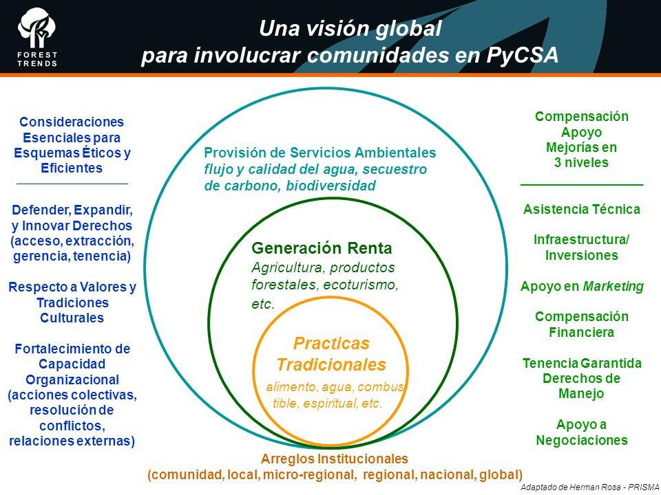 Una visión global para involucrar comunidades en PyCSA Provisión de Servicios Ambientales flujo y calidad del agua, secuestro de carbono, biodiversida