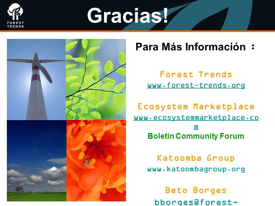 Para Más Información : Forest Trends www.forest-trends.org Ecosystem Marketplace www.ecosystemmarketplace.co m Boletín Community Forum Katoomba Group