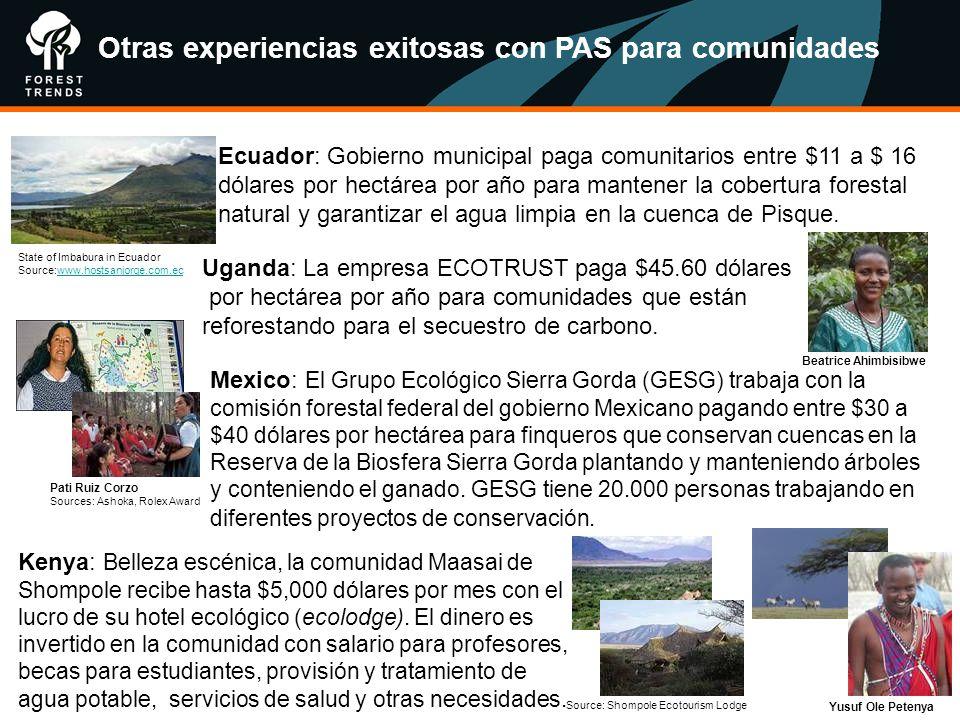 Ecuador: Gobierno municipal paga comunitarios entre $11 a $ 16 dólares por hectárea por año para mantener la cobertura forestal natural y garantizar e
