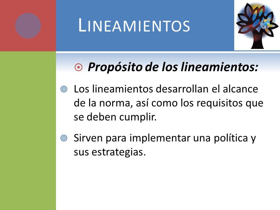 Propósito de los lineamientos: Los lineamientos desarrollan el alcance de la norma, así como los requisitos que se deben cumplir. Sirven para implemen