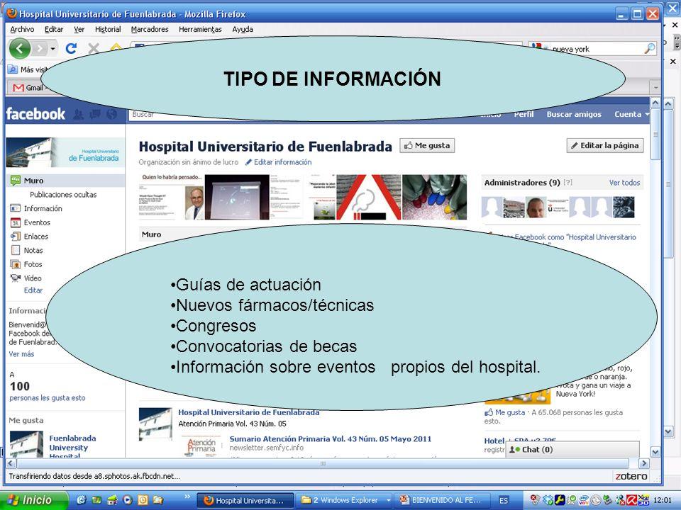 TIPO DE INFORMACIÓN Guías de actuación Nuevos fármacos/técnicas Congresos Convocatorias de becas Información sobre eventos propios del hospital.