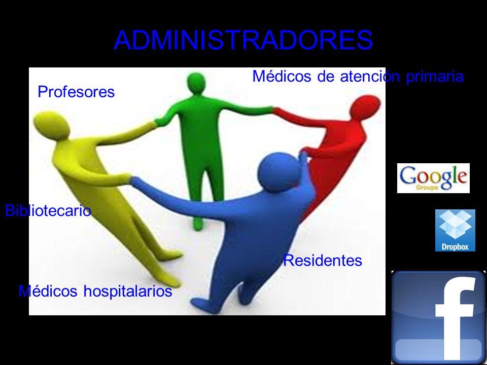 ADMINISTRADORES Médicos de atención primaria Residentes Profesores Médicos hospitalarios Bibliotecario