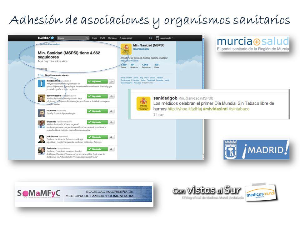 Adhesión de asociaciones y organismos sanitarios