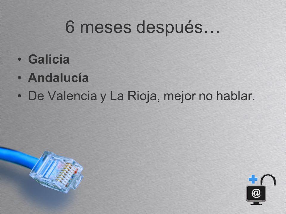6 meses después… Galicia Andalucía De Valencia y La Rioja, mejor no hablar.