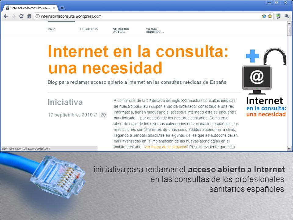 iniciativa para reclamar el acceso abierto a Internet en las consultas de los profesionales sanitarios españoles