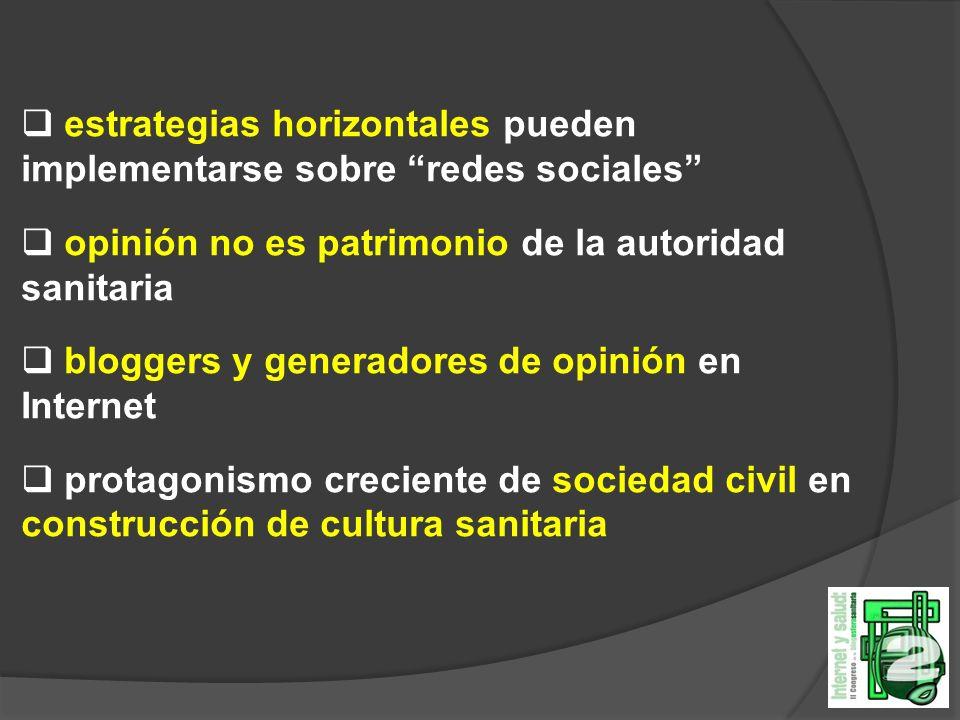estrategias horizontales pueden implementarse sobre redes sociales opinión no es patrimonio de la autoridad sanitaria bloggers y generadores de opinión en Internet protagonismo creciente de sociedad civil en construcción de cultura sanitaria