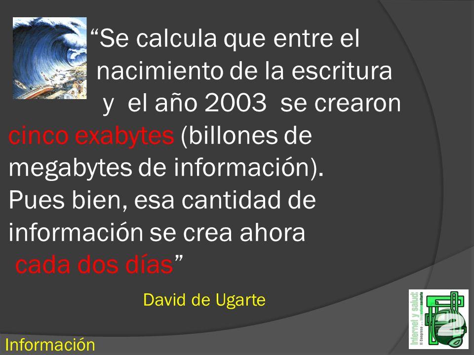 Se calcula que entre el nacimiento de la escritura y el año 2003 se crearon cinco exabytes (billones de megabytes de información).