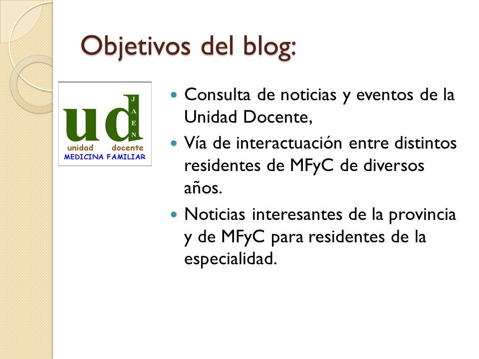 Objetivos del blog: Consulta de noticias y eventos de la Unidad Docente, Vía de interactuación entre distintos residentes de MFyC de diversos años. No