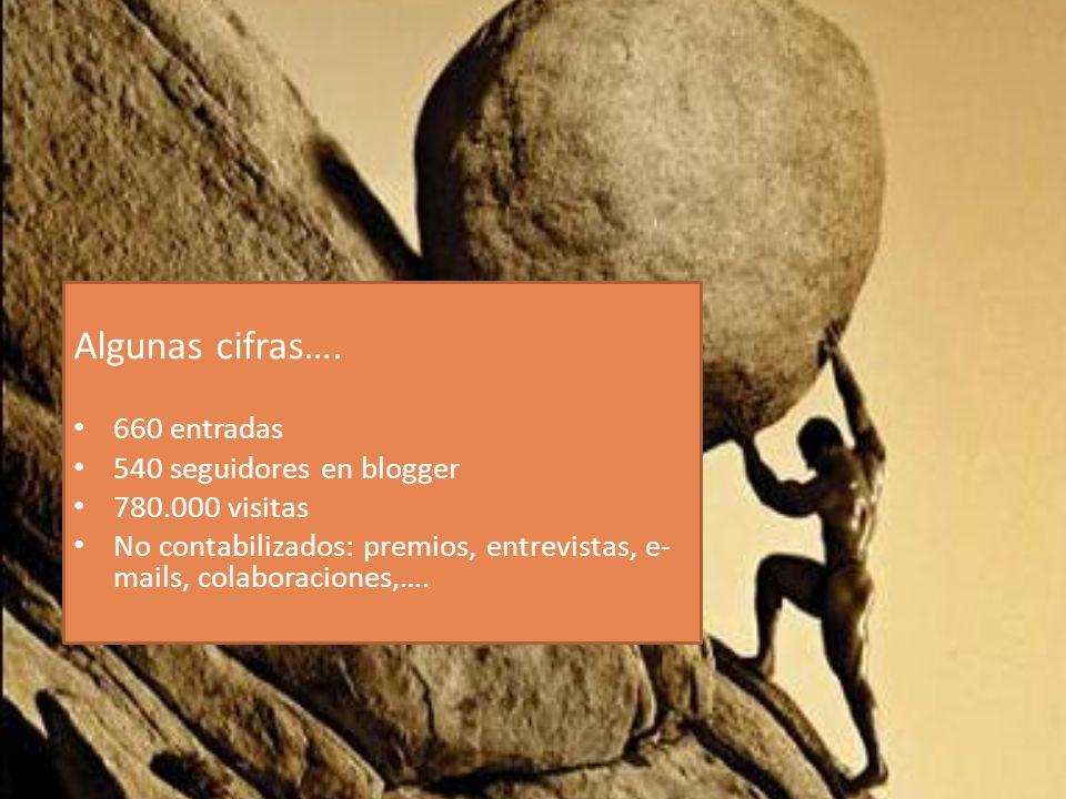 Algunas cifras…. 660 entradas 540 seguidores en blogger 780.000 visitas No contabilizados: premios, entrevistas, e- mails, colaboraciones,….