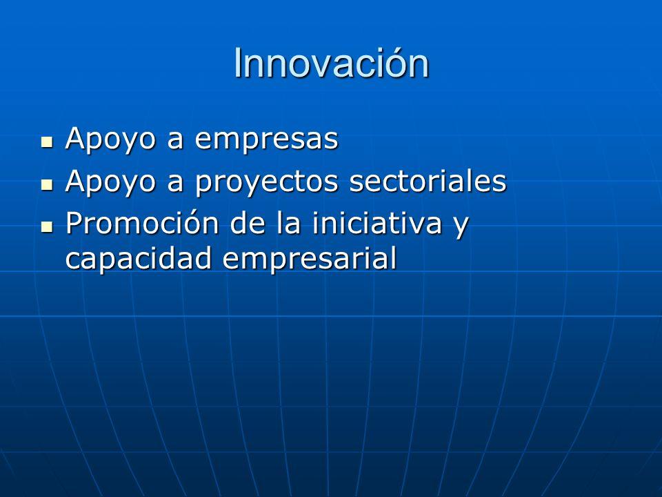 Innovación Apoyo a empresas Apoyo a empresas Apoyo a proyectos sectoriales Apoyo a proyectos sectoriales Promoción de la iniciativa y capacidad empresarial Promoción de la iniciativa y capacidad empresarial