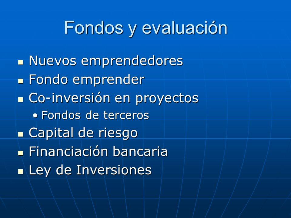 Fondos y evaluación Nuevos emprendedores Nuevos emprendedores Fondo emprender Fondo emprender Co-inversión en proyectos Co-inversión en proyectos Fondos de tercerosFondos de terceros Capital de riesgo Capital de riesgo Financiación bancaria Financiación bancaria Ley de Inversiones Ley de Inversiones