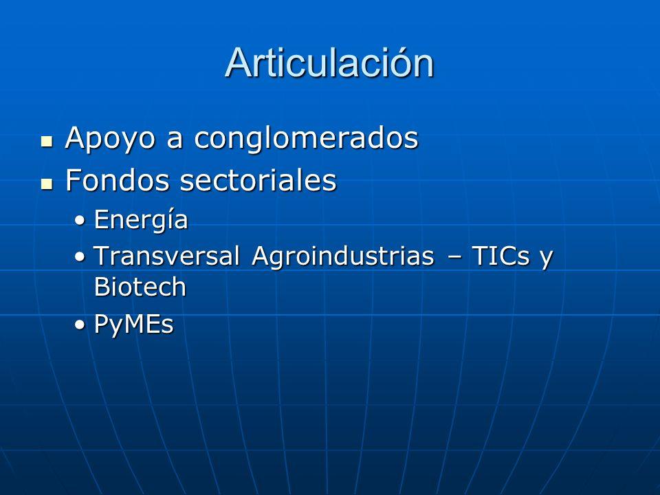 Articulación Apoyo a conglomerados Apoyo a conglomerados Fondos sectoriales Fondos sectoriales EnergíaEnergía Transversal Agroindustrias – TICs y BiotechTransversal Agroindustrias – TICs y Biotech PyMEsPyMEs