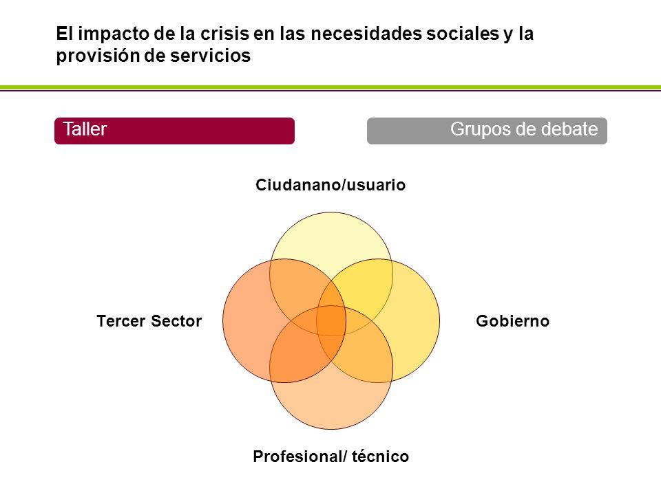 Ciudanano/usuario Gobierno Profesional/ técnico Tercer Sector TallerGrupos de debate