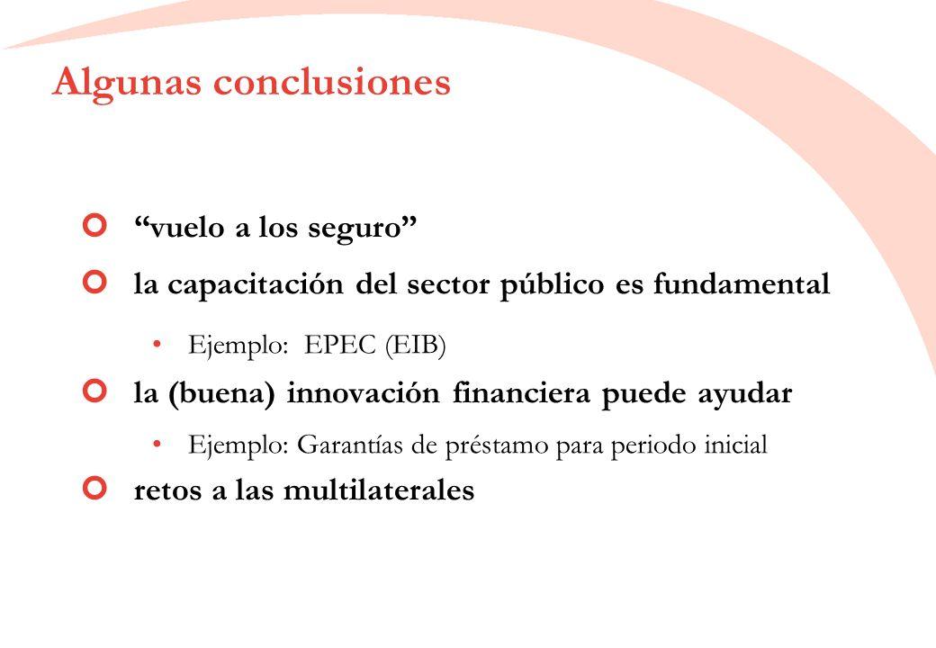 Algunas conclusiones vuelo a los seguro la capacitación del sector público es fundamental Ejemplo: EPEC (EIB) la (buena) innovación financiera puede ayudar Ejemplo: Garantías de préstamo para periodo inicial retos a las multilaterales