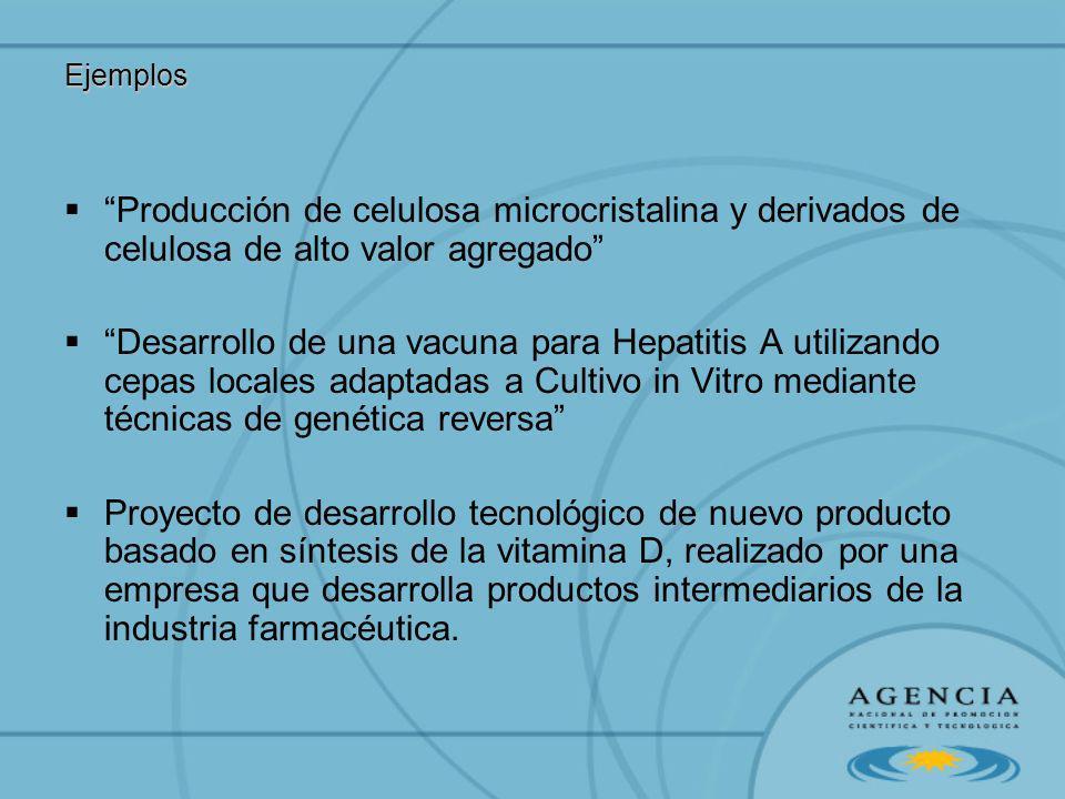 Ejemplos Producción de celulosa microcristalina y derivados de celulosa de alto valor agregado Desarrollo de una vacuna para Hepatitis A utilizando ce