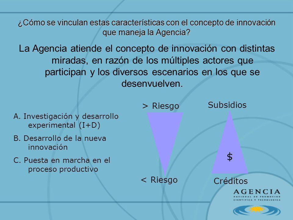 ¿Cómo se vinculan estas características con el concepto de innovación que maneja la Agencia? La Agencia atiende el concepto de innovación con distinta