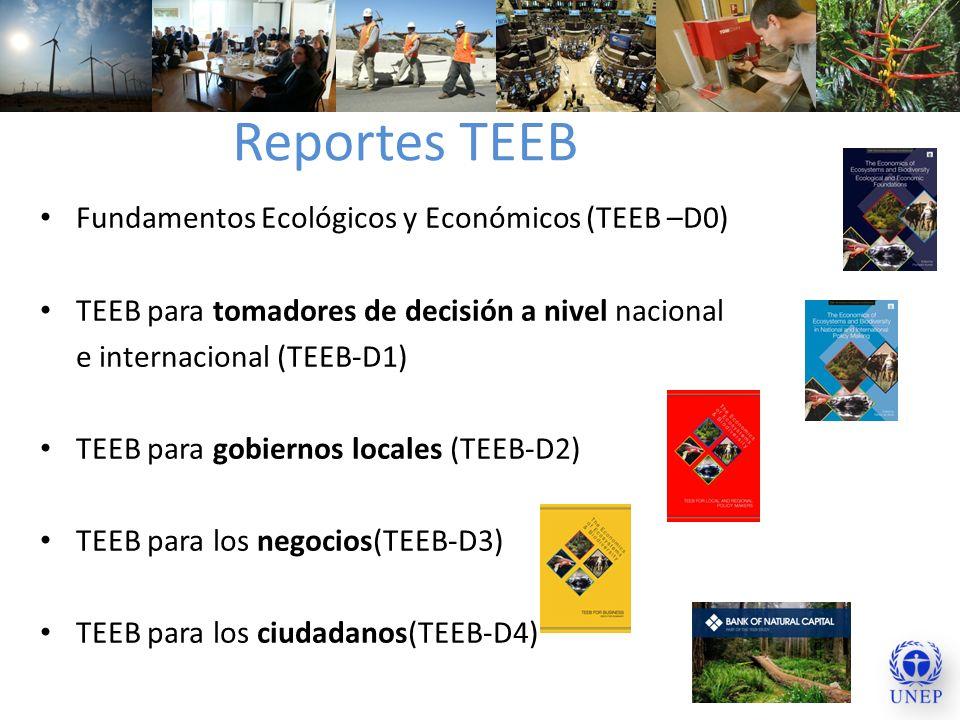 Reportes TEEB Fundamentos Ecológicos y Económicos (TEEB –D0) TEEB para tomadores de decisión a nivel nacional e internacional (TEEB-D1) TEEB para gobi