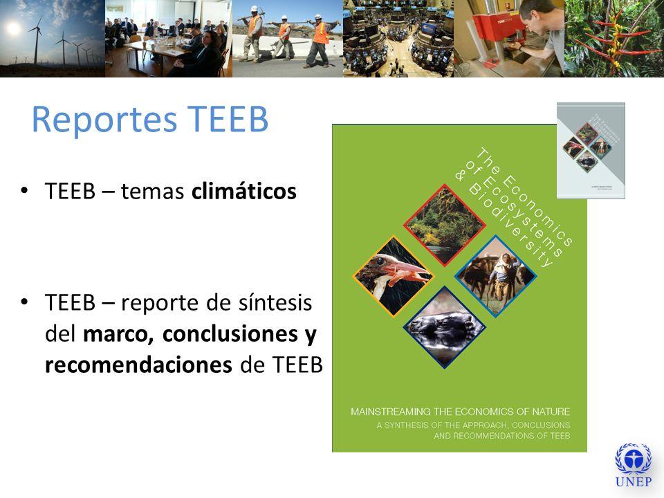 Reportes TEEB TEEB – temas climáticos TEEB – reporte de síntesis del marco, conclusiones y recomendaciones de TEEB