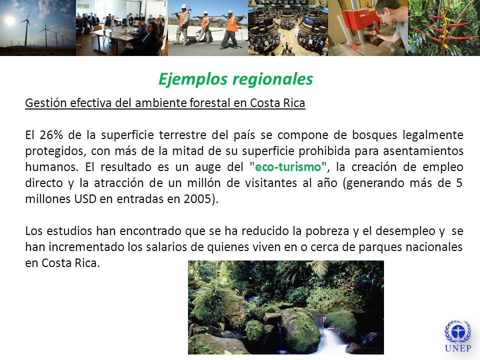 Ejemplos regionales Gestión efectiva del ambiente forestal en Costa Rica El 26% de la superficie terrestre del país se compone de bosques legalmente p