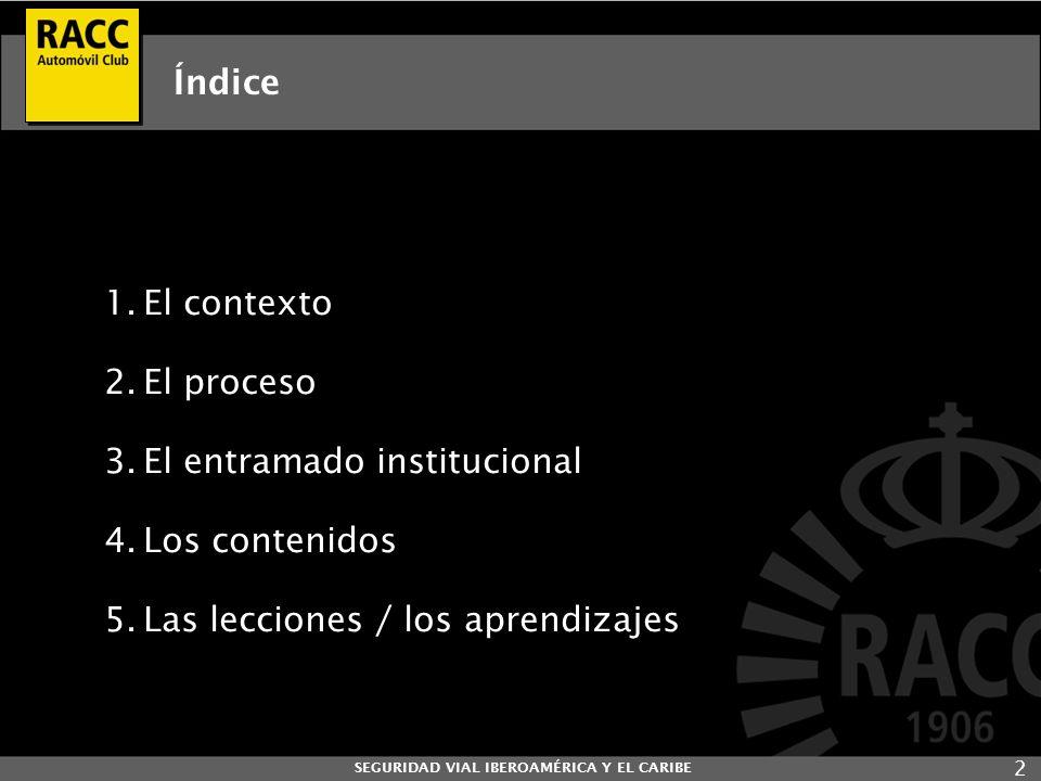 2 Índice 1.El contexto 2.El proceso 3.El entramado institucional 4.Los contenidos 5.Las lecciones / los aprendizajes