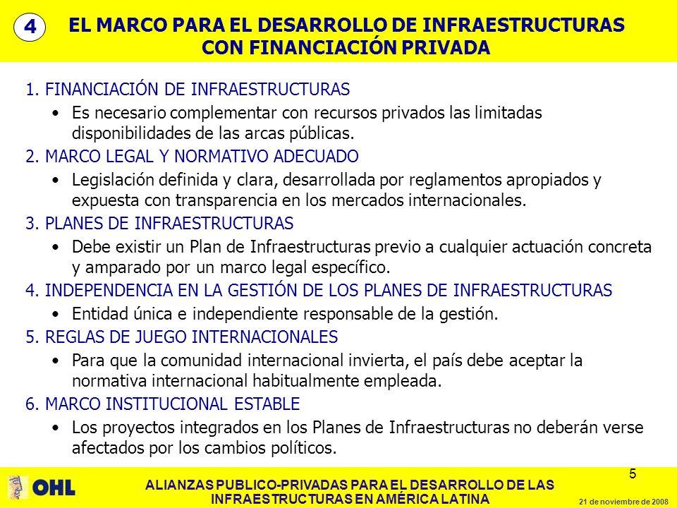 ALIANZAS PUBLICO-PRIVADAS PARA EL DESARROLLO DE LAS INFRAESTRUCTURAS EN AMÉRICA LATINA 21 de noviembre de 2008 5 5 1. FINANCIACIÓN DE INFRAESTRUCTURAS