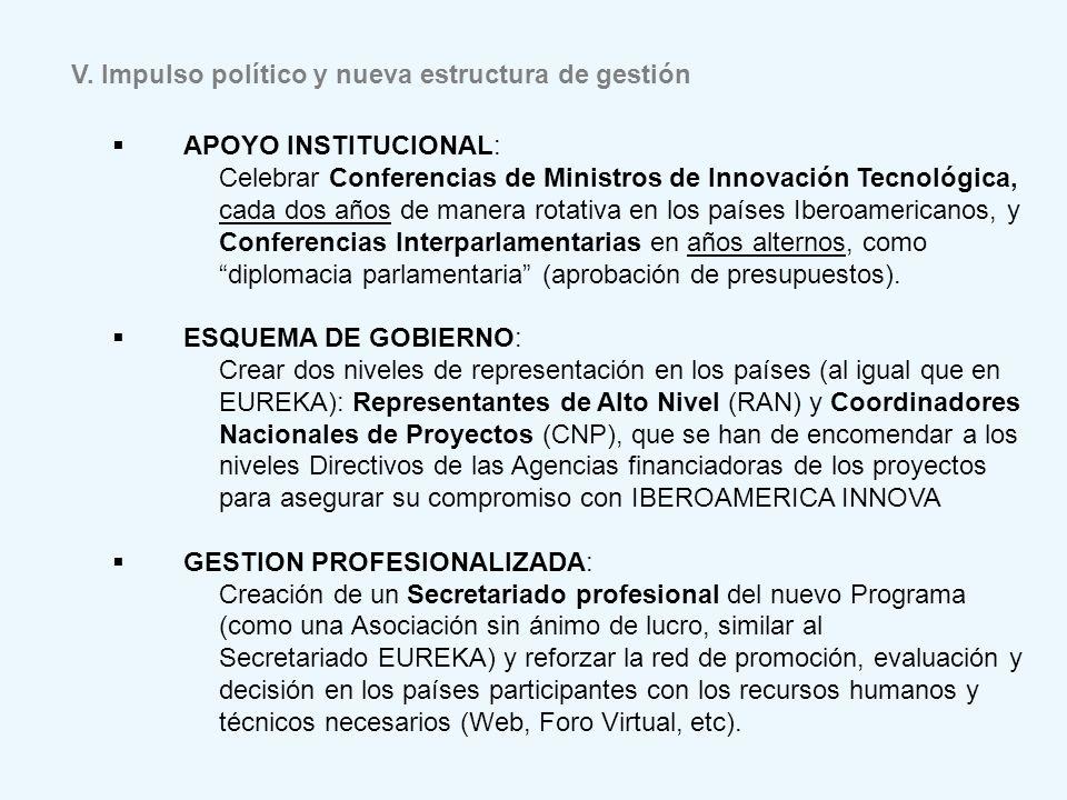 V. Impulso político y nueva estructura de gestión APOYO INSTITUCIONAL: Celebrar Conferencias de Ministros de Innovación Tecnológica, cada dos años de