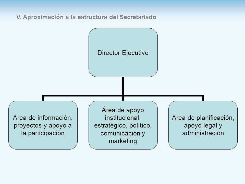 V. Aproximación a la estructura del Secretariado Director Ejecutivo Área de información, proyectos y apoyo a la participación Área de apoyo institucio