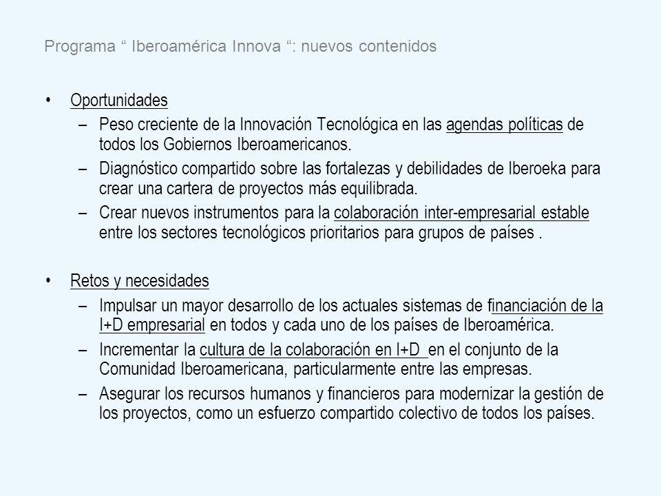 Oportunidades – –Peso creciente de la Innovación Tecnológica en las agendas políticas de todos los Gobiernos Iberoamericanos. – –Diagnóstico compartid