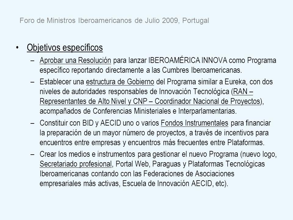 Foro de Ministros Iberoamericanos de Julio 2009, Portugal Objetivos específicos – –Aprobar una Resolución para lanzar IBEROAMÉRICA INNOVA como Program