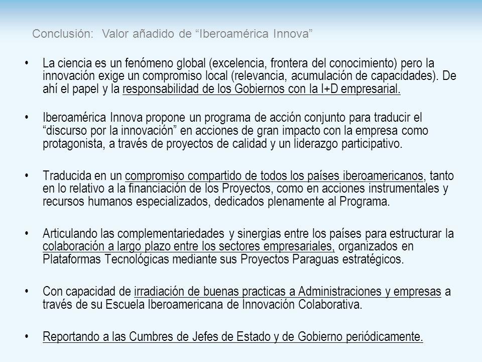 Conclusión: Valor añadido de Iberoamérica Innova La ciencia es un fenómeno global (excelencia, frontera del conocimiento) pero la innovación exige un