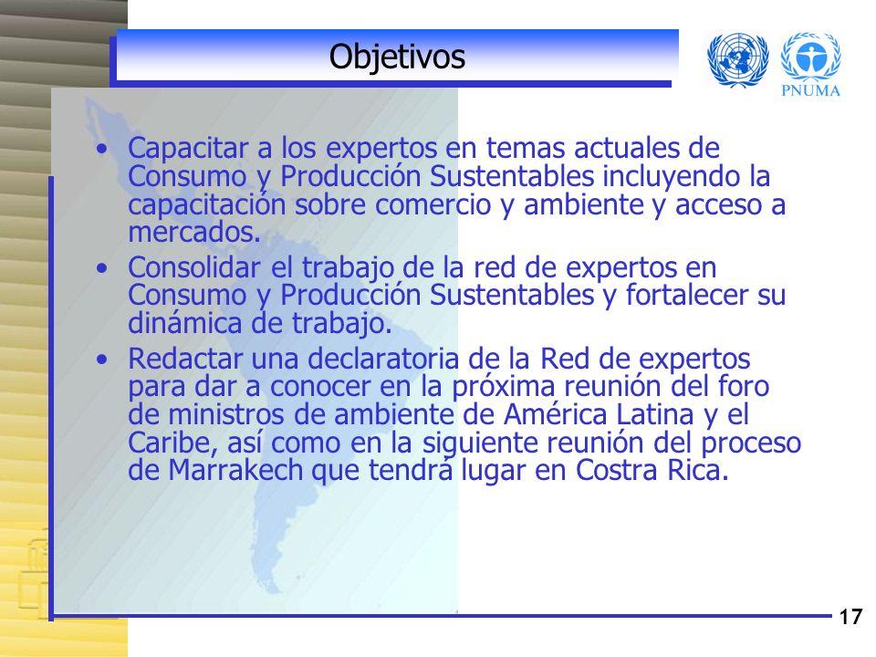 17 Objetivos Capacitar a los expertos en temas actuales de Consumo y Producción Sustentables incluyendo la capacitación sobre comercio y ambiente y ac